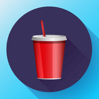 soda red plastic beaker with a tube for take-away