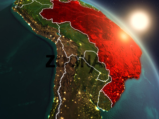 Brazil from space during sunrise