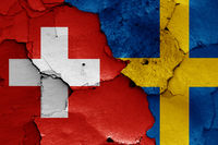 flags of Switzerland and Sweden