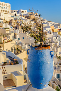 Fira village street view at Santorini island, Greece