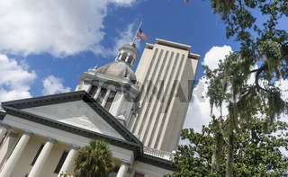 The Capitol building in downtown Tallahassee Florida undergoes a renovation but still looks good.