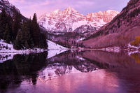 Maroon Bells and Maroon Lake at sunrise