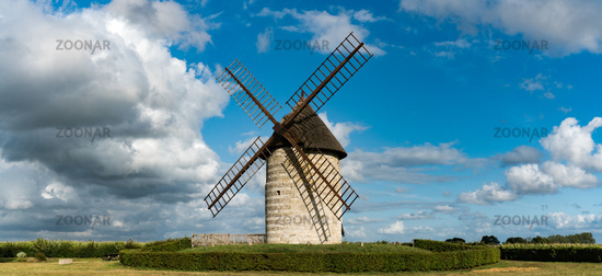 panorama view of the historic windmill Moulin de Pierre in Hauville in Normandy