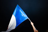 Waving French flag after victory of France for final FIFA World