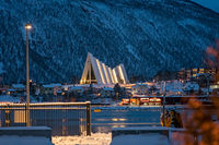 Tromso Harbour and Arctic Cathedral at night