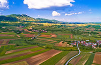 Kalnik mountain and green landscape village aerial view