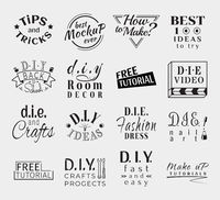 Vintage Retro Vector Labels for banner, poster, flyer or video do it yourself channel