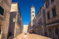 Famous Stradun street in Dubrovnik morning view