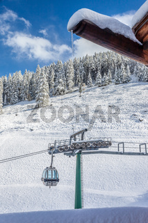 Ski lift in winter