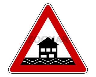 Verkehrsschild Achtung Hochwasser - Traffic warning sign flood on white