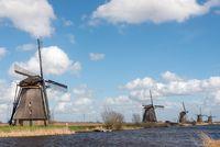 Windmills in Kinderdijk near Rotterdam Netherlands