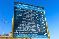 Zweisprachiger Wegweiser  in Englisch und Amharisch zu Felsenkirchen,Gheralta Region,Hawzien,Tigray,