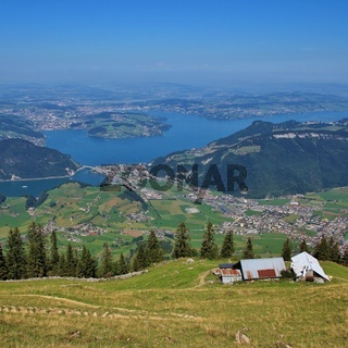 View from Mount Stanserhorn towards Lucerne.