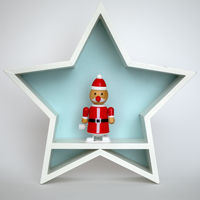 Christmas decoration white star with funny Santa Claus figure inside