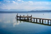 wooden jetty Starnberg lake