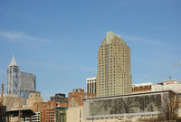 RALEIGH,NC/USA - 2-07-2019: View of downtown Raleigh NC skyline, including the Cree shimmerwall in the foreground