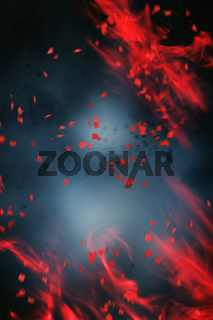 Abstract design of red smoke and motion blurs over dark background