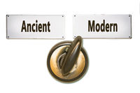 Street Sign to Modern versus Ancient