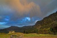 Sunset hues with mountain backdrop at Chopta, Garhwal, Uttarakhand, India
