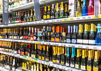 Various bottled alcoholic beverages ready for sale