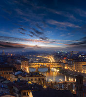 Evening Florence top view, Italy