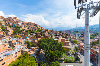 panoramic point at the Juan XXIII Metro Cable stop in the district called Divisa in the city of Medellin Colombia