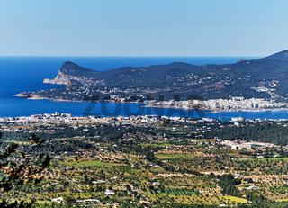 Top view of San Antonio de Portmany. San Antonio (also Sant Antoni) is the second largest town in Ibiza Island. Balearic Islands. Spain