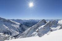 Karwendel mountainrange with sun in winter