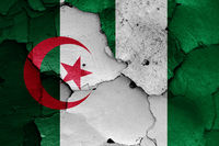 flags of Algeria and Nigeria painted on cracked wall