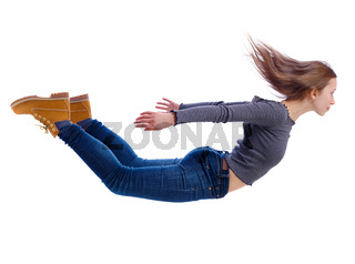 Side view of woman in zero gravity or a fall.