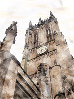 a watercolor painting of the tower and clock of leeds minster formerly the city parish church