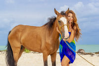 Blonde Brunette Model And Horse On A Caribbean Beach