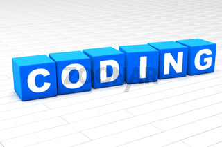 3D illustration of the word Coding