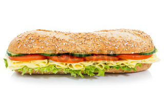 Baguette Sandwich Vollkorn Brötchen mit Käse seitlich freigestellt Freisteller
