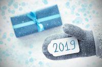 Turquoise Gift, Grey Fleece Glove, Text 2019, Snowflakes