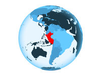 Peru on blue globe isolated