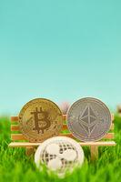 Kryptowährung Münzen wie Bitcoin Ether Ripple
