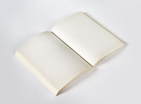 Old open blank book isolated on grey