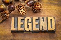 legend word in vintage wood type