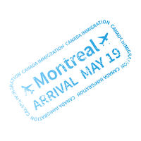 Montreal International travel visa stamp on white. Arrival sign cyan rubber stamp with texture