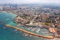 Tel Aviv Jaffa old city town port skyline Israel beach aerial view sea skyscrapers