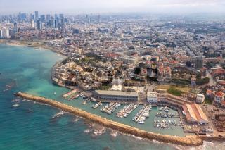 Tel Aviv Jaffa old city town port skyline Israel beach aerial view sea skyscrapers