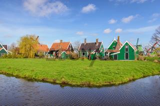 Amsterdam Netherlands, Dutch Windmill and traditional house at Zaanse Schans Village