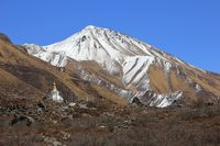 Travel destination and popular viewpoint Tserko Ri. Langtang National Park, Nepal.