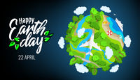 Earth Day 22 april, planet globe with trees, rivers and clouds