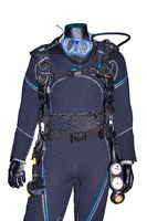 Diving equipment with diving suit on white background