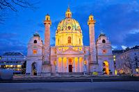 Karlskirche church of Vienna evenig view
