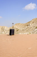 Luggage alone in the desert