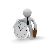 Small businessman with a big clock