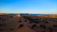 Aerial sunrise Panoramic view to Yoa lake group of Ounianga kebir lakes at the Ennedi, Chad